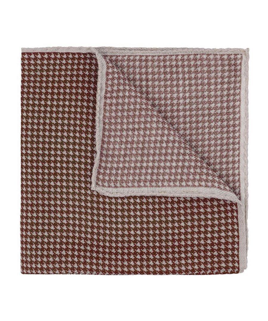 Image for Men's Hackett, Houndstooth Handkerchief in Rust
