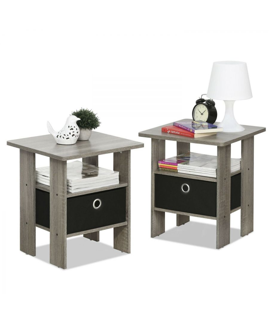 Image for Furinno Andrey End Table Nightstand with Bin Drawer - French Oak Grey/Black - Set of 2