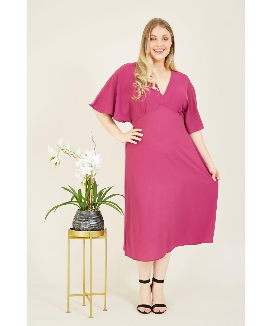 Image for Yumi Curve Pink Kimono Sleeve Midi Dress