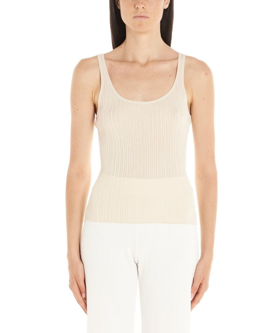 Image for THEORY WOMEN'S J0516704WGJ BEIGE SYNTHETIC FIBERS TANK TOP