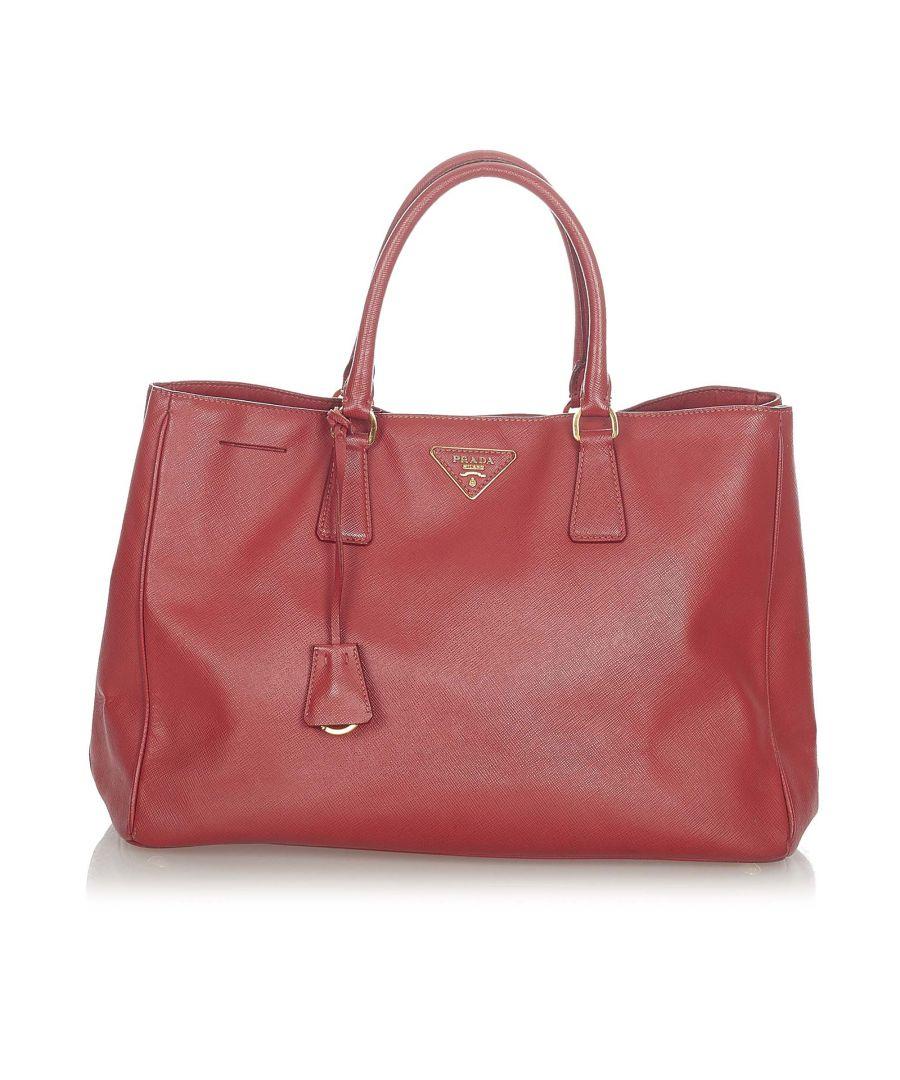 Image for Vintage Prada Saffiano Lux Galleria Handbag Red