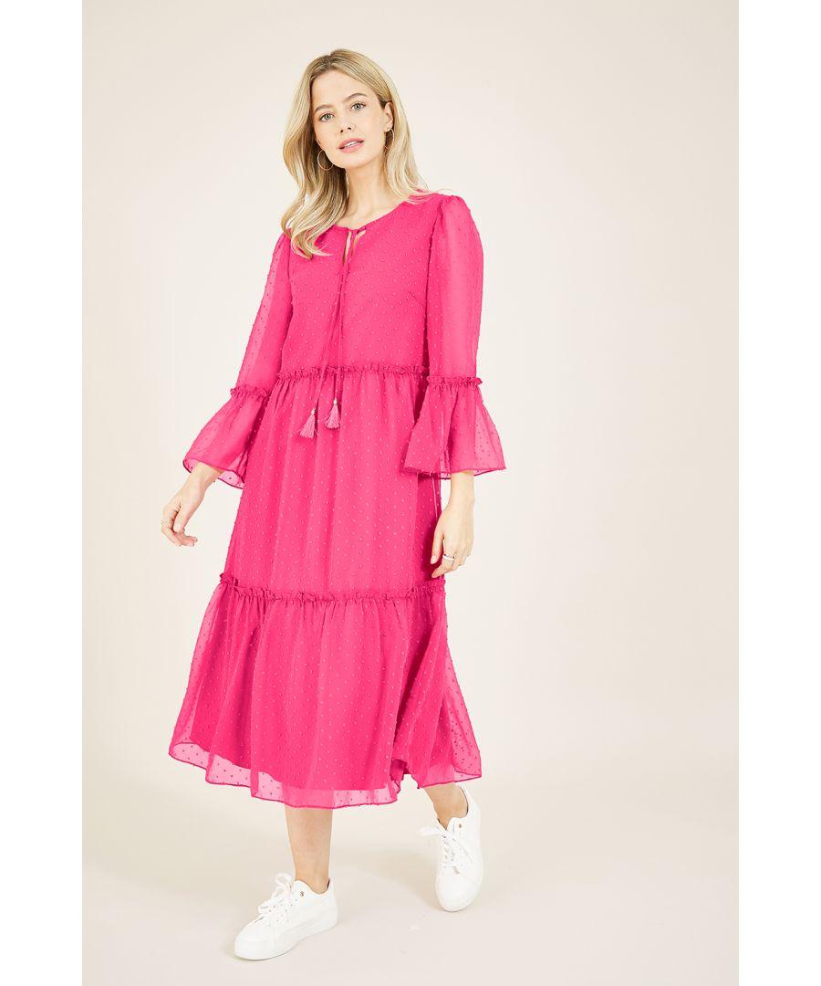 Image for Yumi Pink Dobby Spot Smock Midi Dress