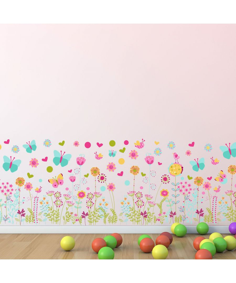 Image for Colourful Butterflies and Flowers Skirting Self Adhesive DIY Wall Sticker, kids bedroom