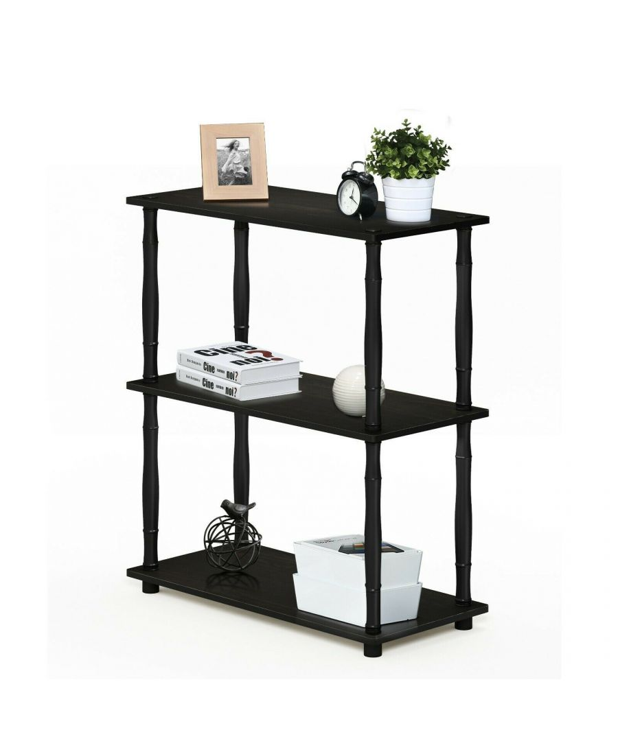Image for Furinno Turn-N-Tube 3-Tier Compact Multipurpose Shelf Display Rack with Classic Tube - Espresso/Black