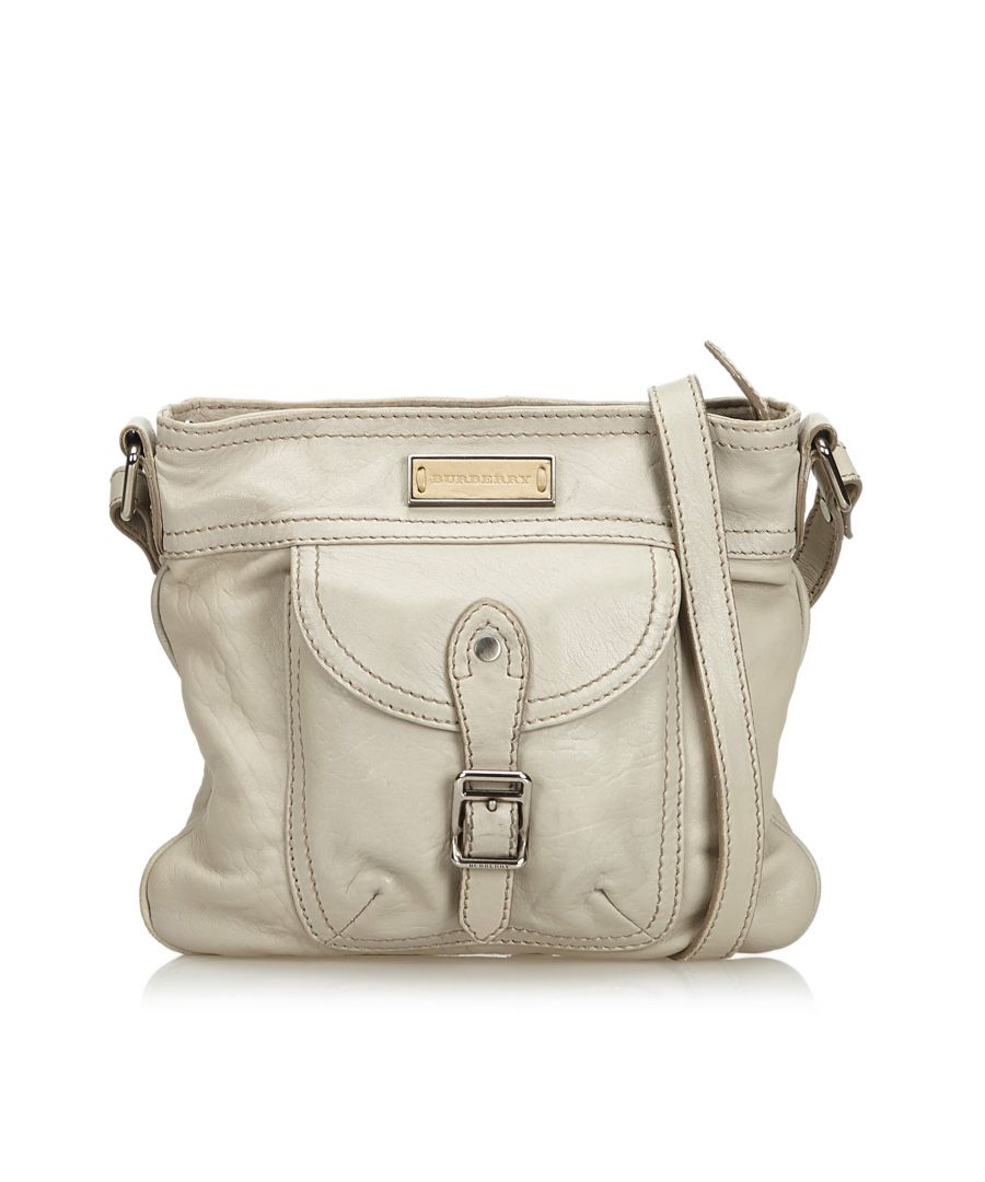 Image for Burberry Leather Shoulder Bag White
