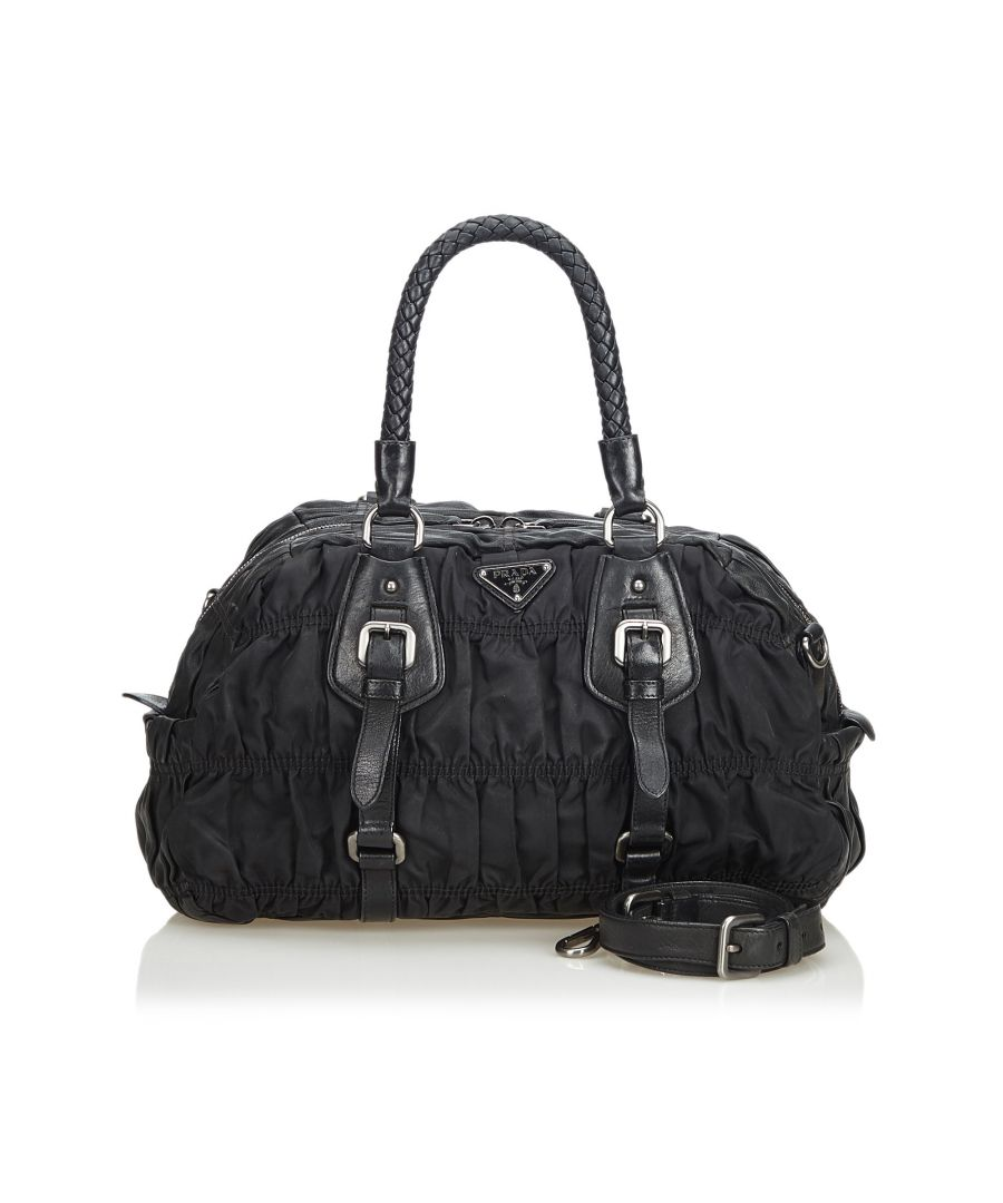 Image for Prada Gathered Nylon Satchel Black