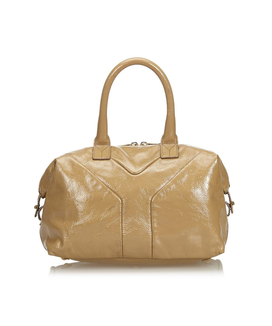 Image for Vintage YSL Patent Leather Easy Boston Bag Brown