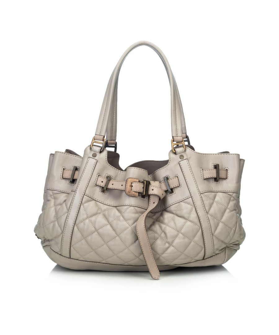 Image for Burberry Leather Enmore Shoulder Bag Gray