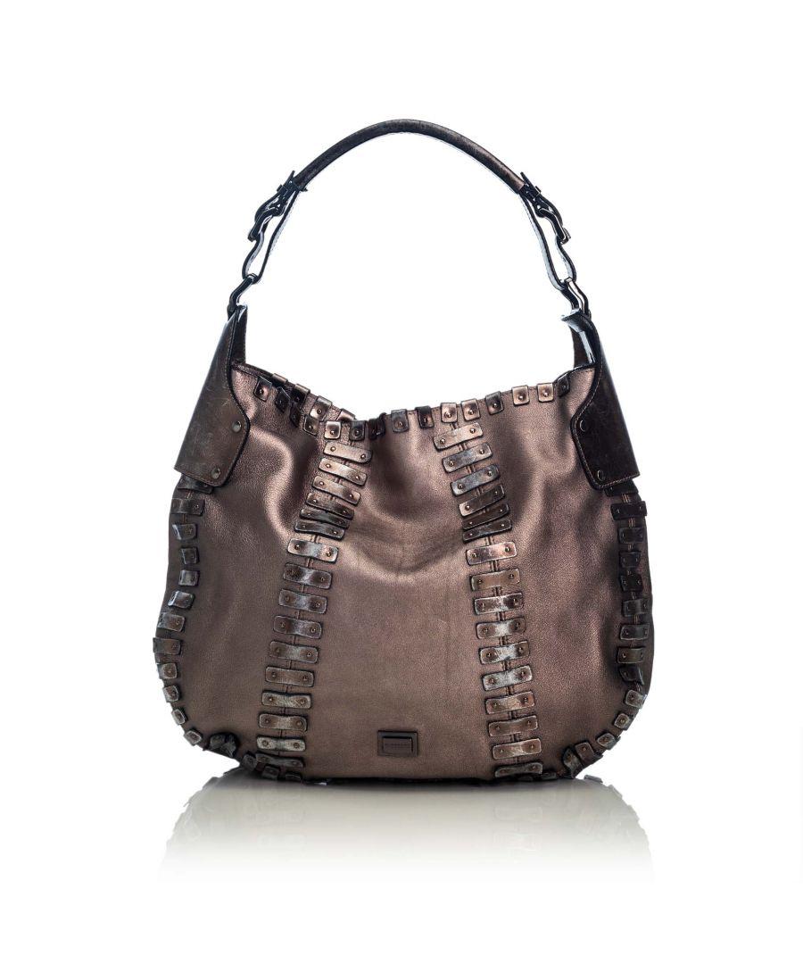 Image for Vintage Burberry Embellished Leather Hobo Bag Brown