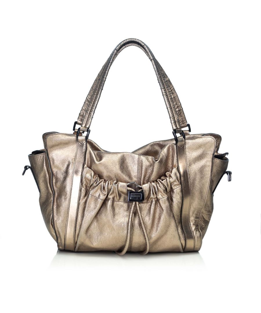 Image for Burberry Metallic Leather Satchel Gold