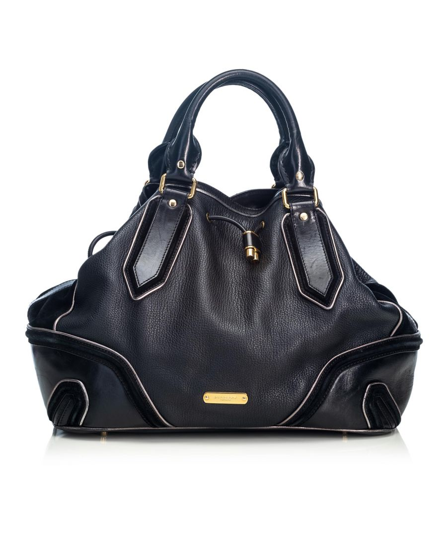 Image for Burberry Leather Drawstring Satchel Black
