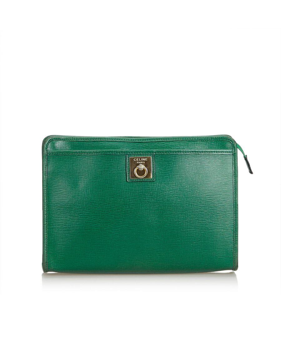 Image for Celine Leather Clutch Bag Green