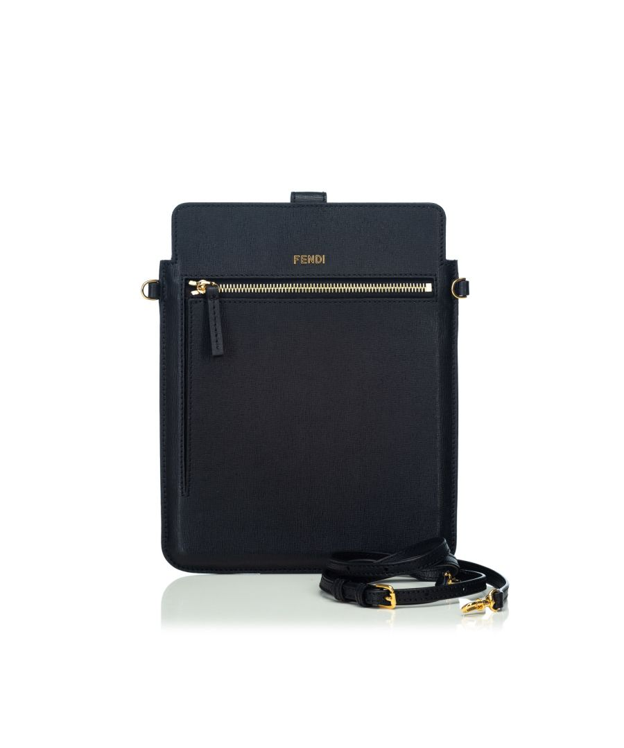 Image for Vintage Fendi Leather Crossbody Bag Black