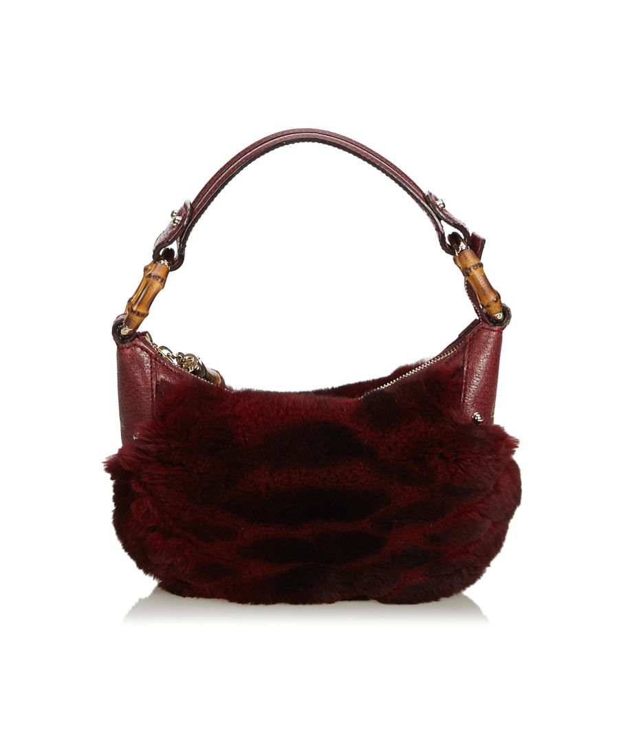 Image for Vintage Gucci Fur Bamboo Ring Hobo Bag Red