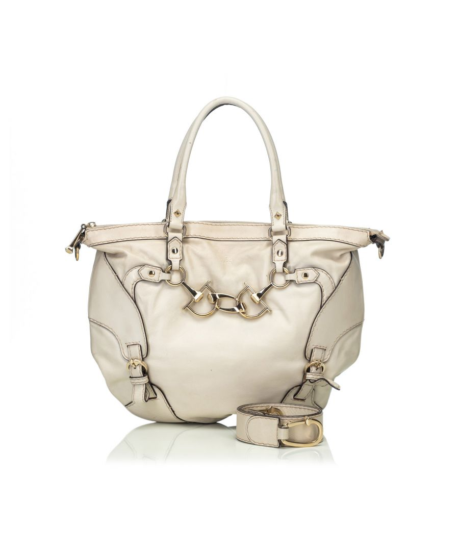 Image for Vintage Gucci Leather Horsebit Satchel White