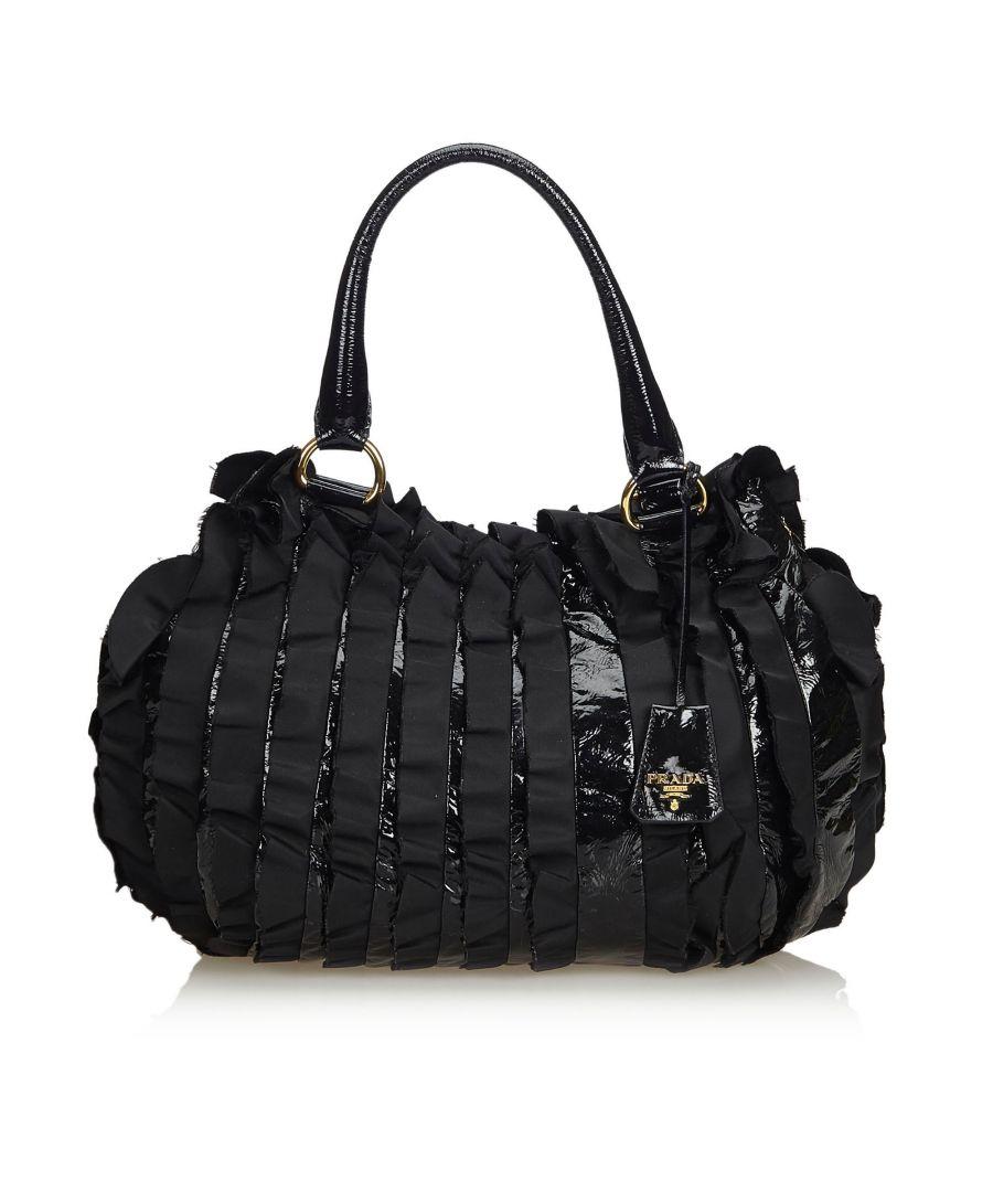 Image for Vintage Prada Ruffled Patent Leather Handbag Black