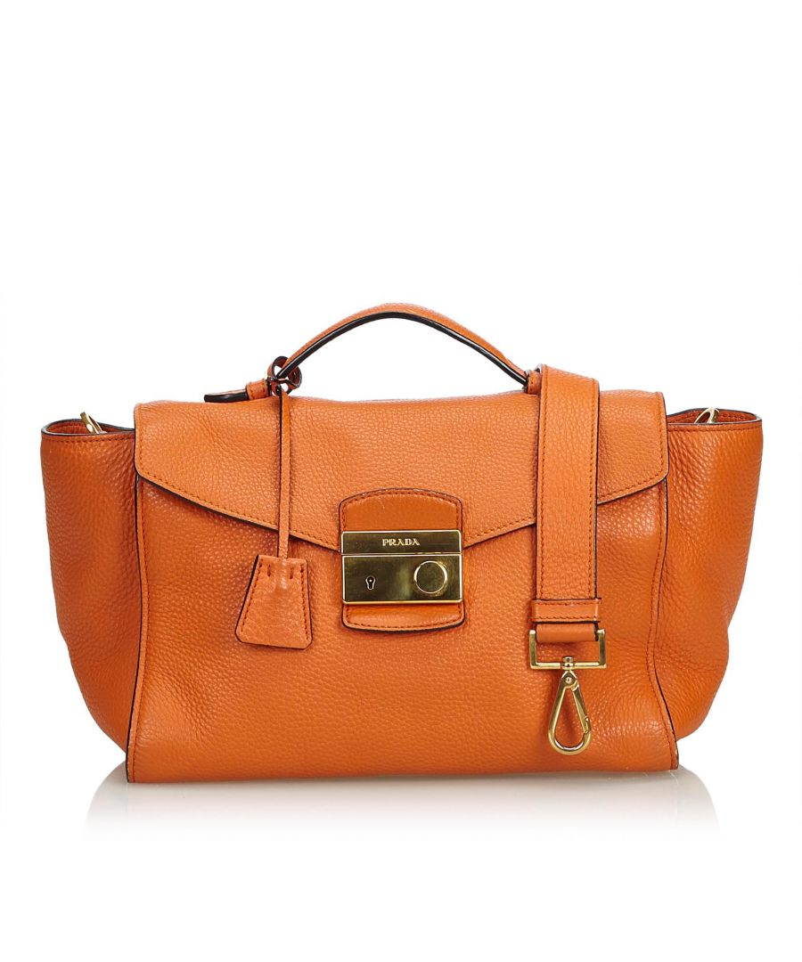 Image for Vintage Prada Leather Satchel Orange
