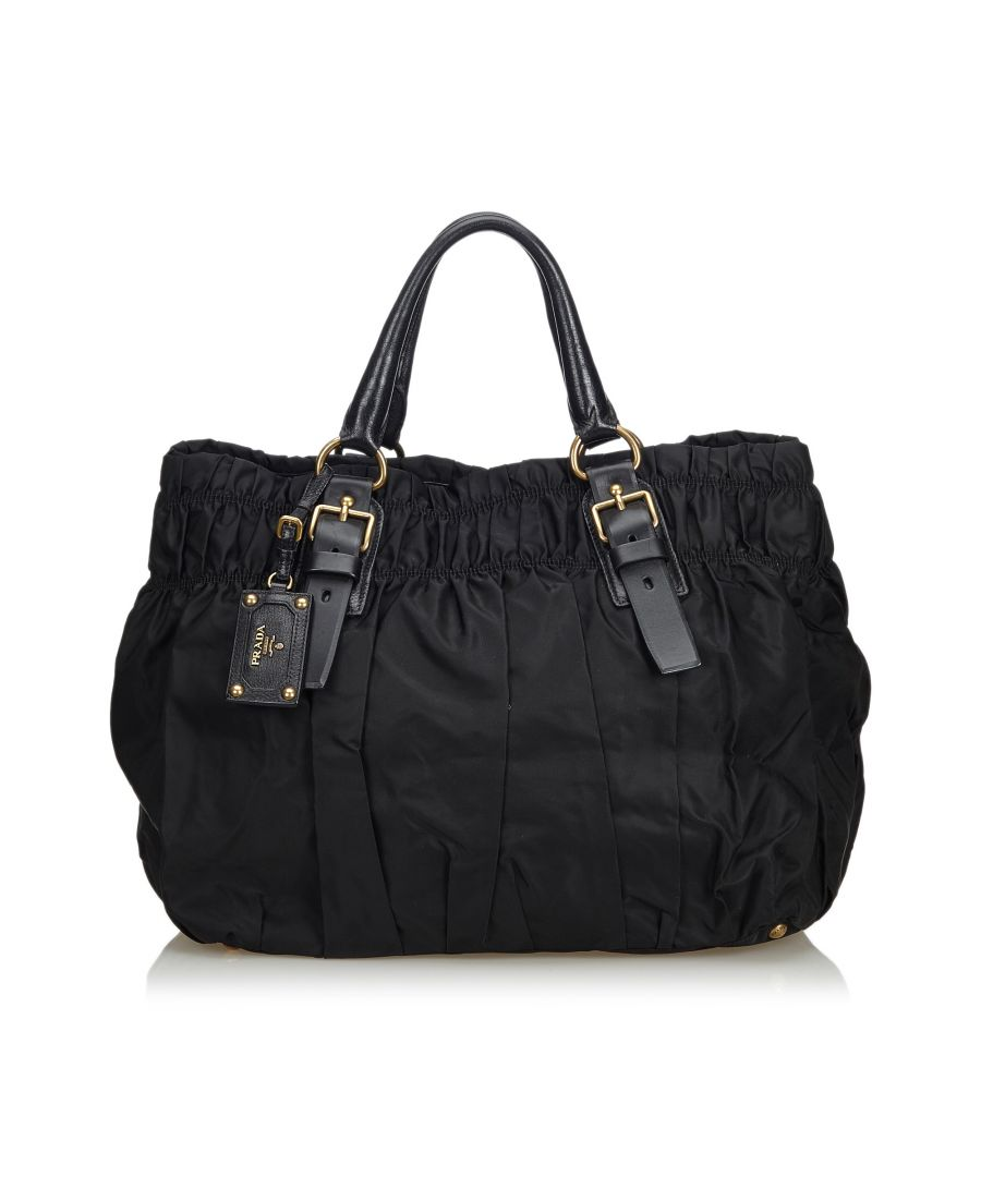 Image for Prada Gathered Nylon Tote Bag Black