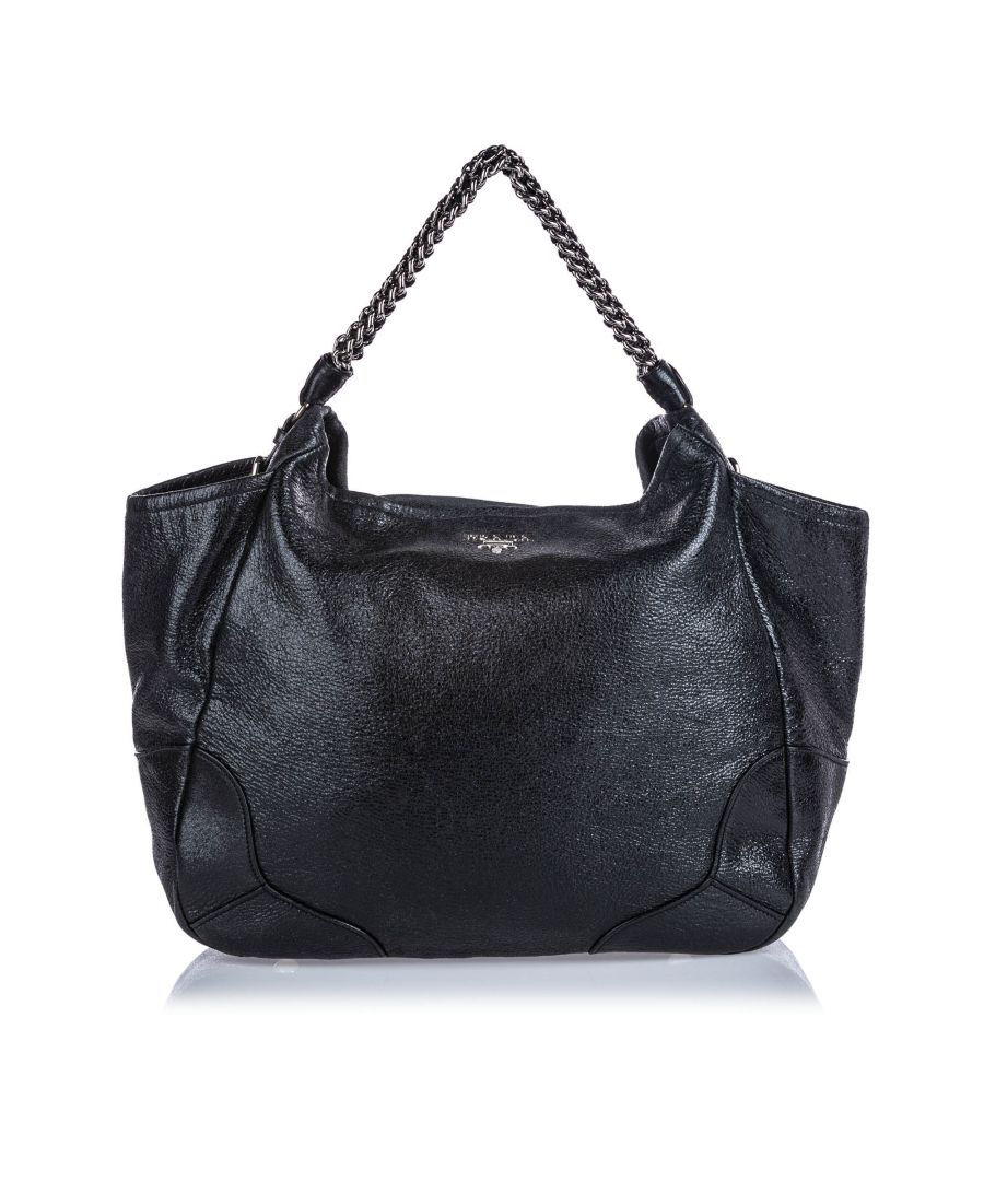 Image for Prada Cervo Lux Chain Tote Bag Black