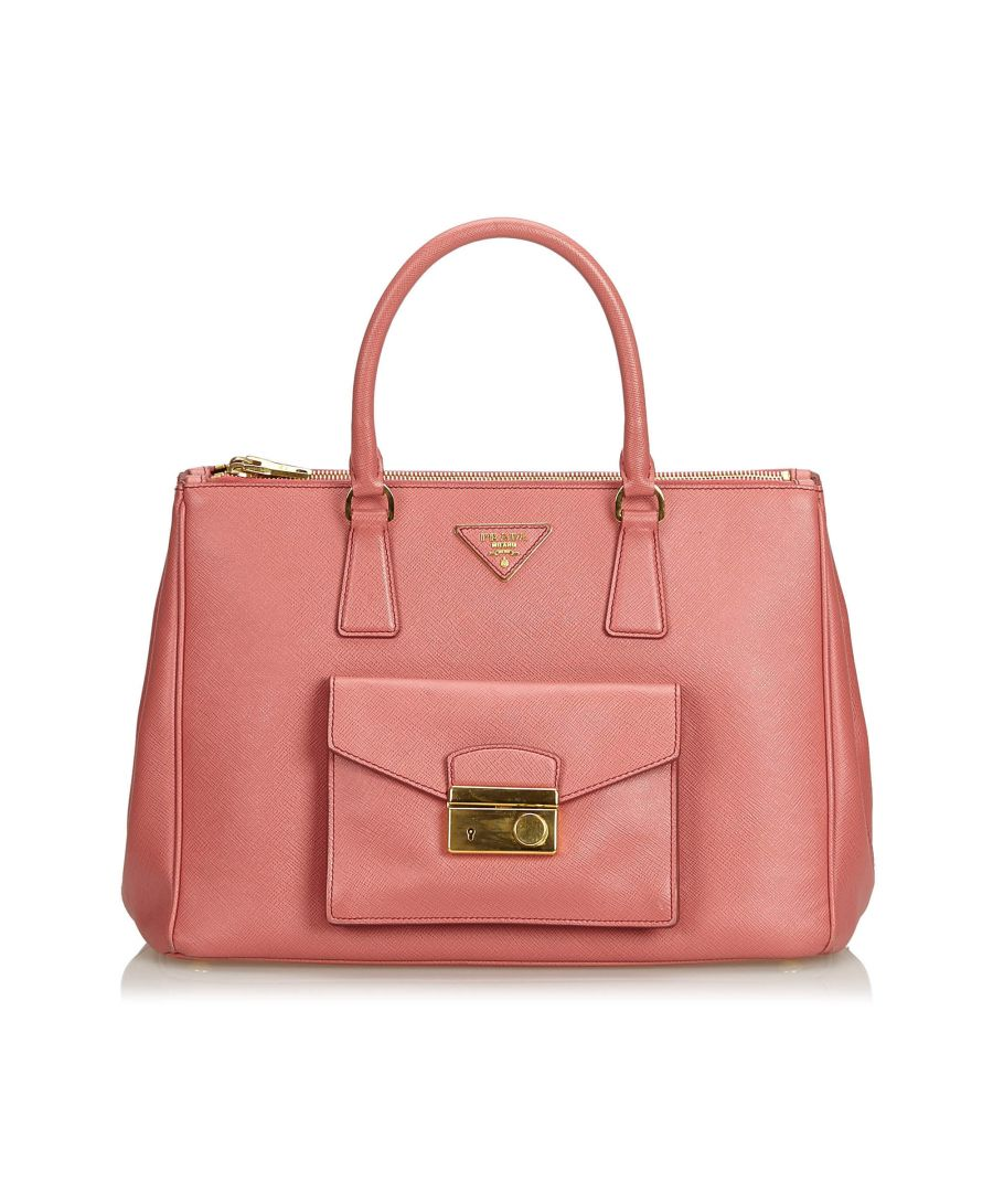 Image for Vintage Prada Saffiano Lux Galleria Double Zip Pocket Tote Pink