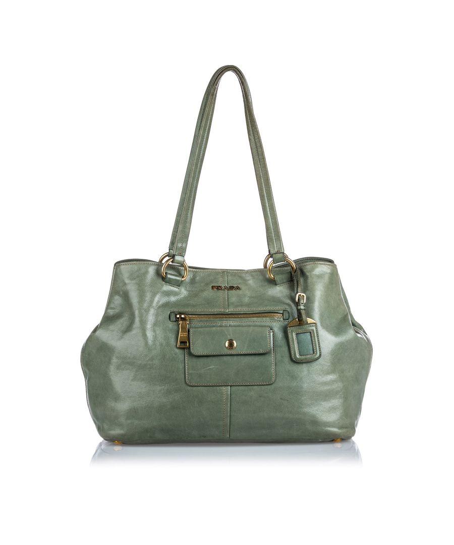 Image for Vintage Prada Leather Pocket Tote Bag Green