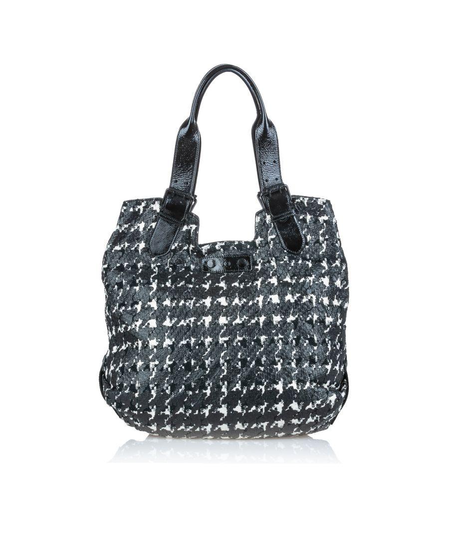 Image for Vintage Alexander McQueen Houndstooth Leather Tote Bag Black