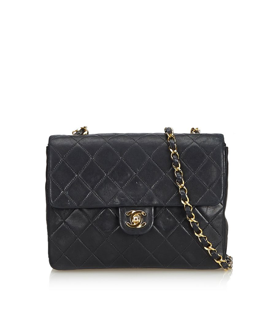 Image for Chanel Classic Mini Square Lambskin Leather Single Flap Bag Black