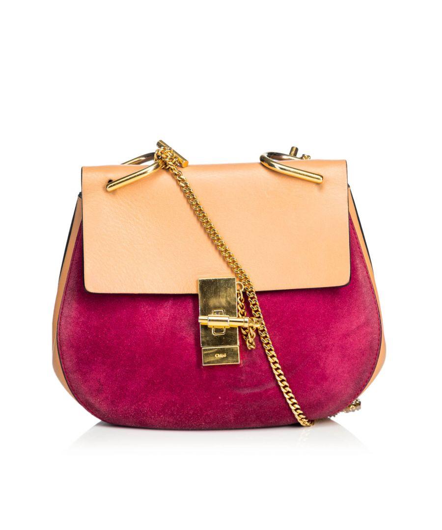 Image for Chloe Medium Suede Drew Crossbody Bag Red