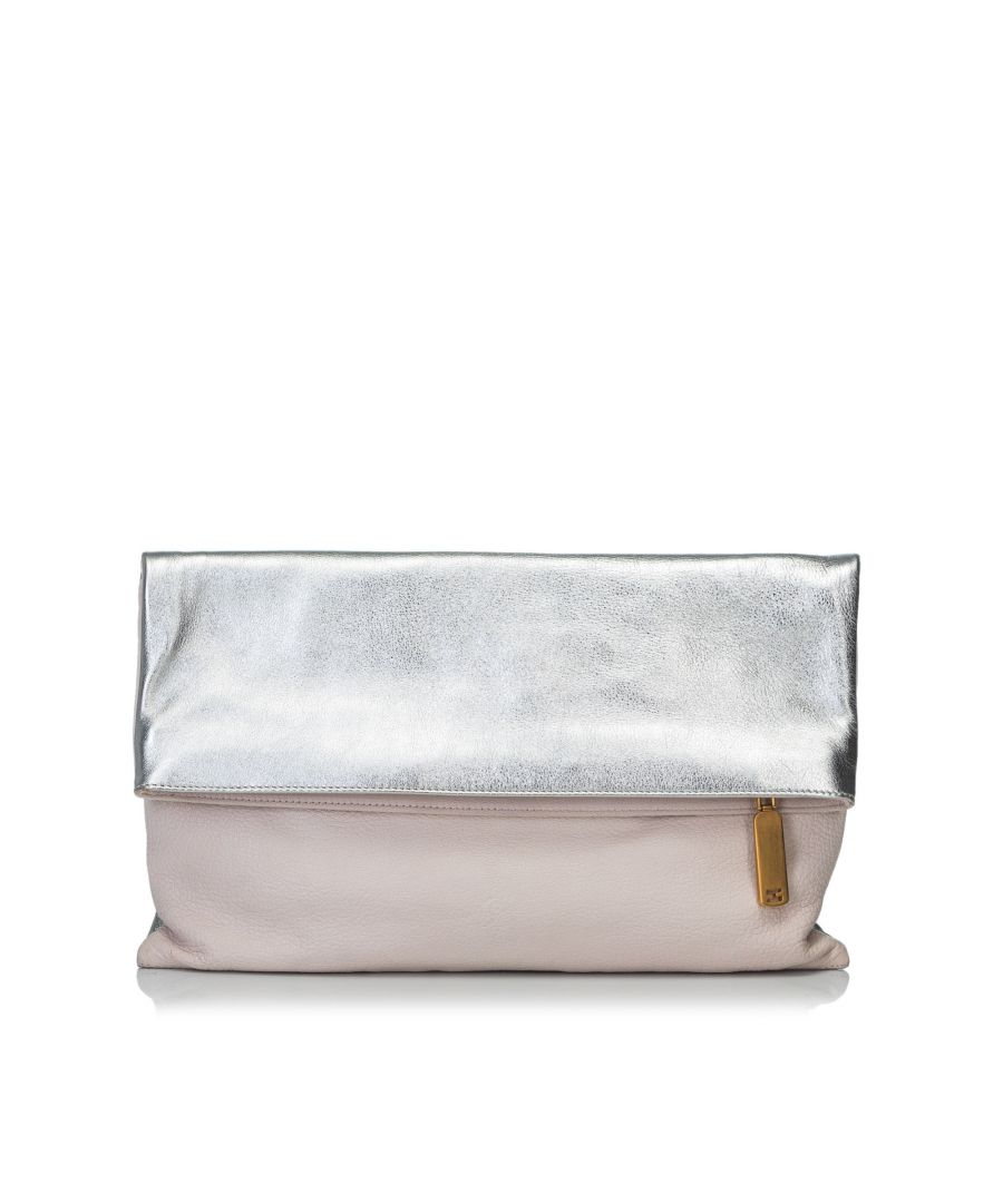 Image for Vintage Fendi Bicolor Fold-Over Clutch Bag Pink