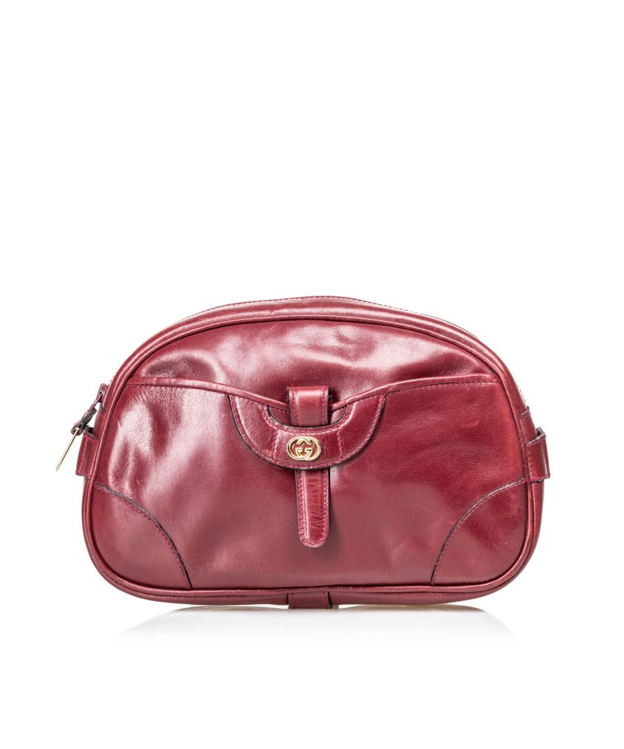 Image for Vintage Gucci Vintage Leather Clutch Bag Red