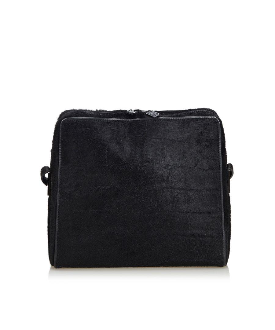 Image for Vintage Gucci Pony Hair Shoulder Bag Black