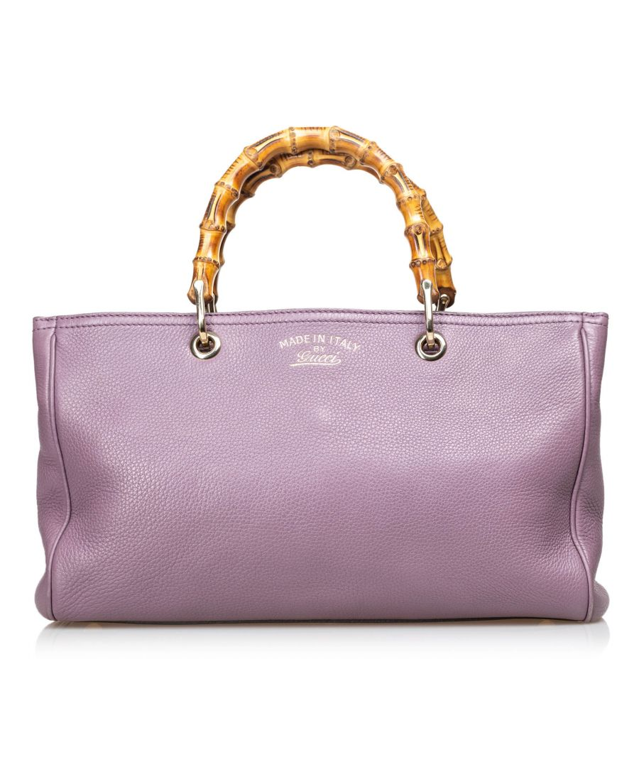 Image for Vintage Gucci Bamboo Leather Shopper Purple
