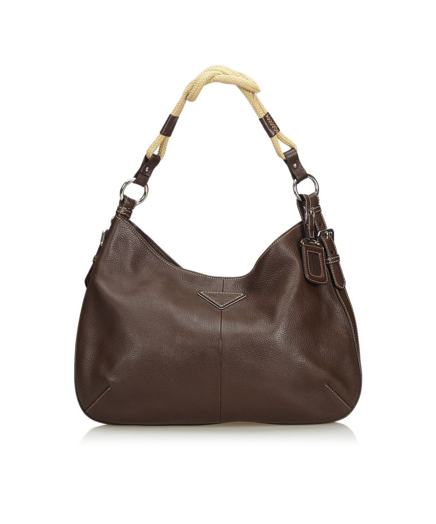 Image for Vintage Prada Vitello Daino Hobo Bag Brown