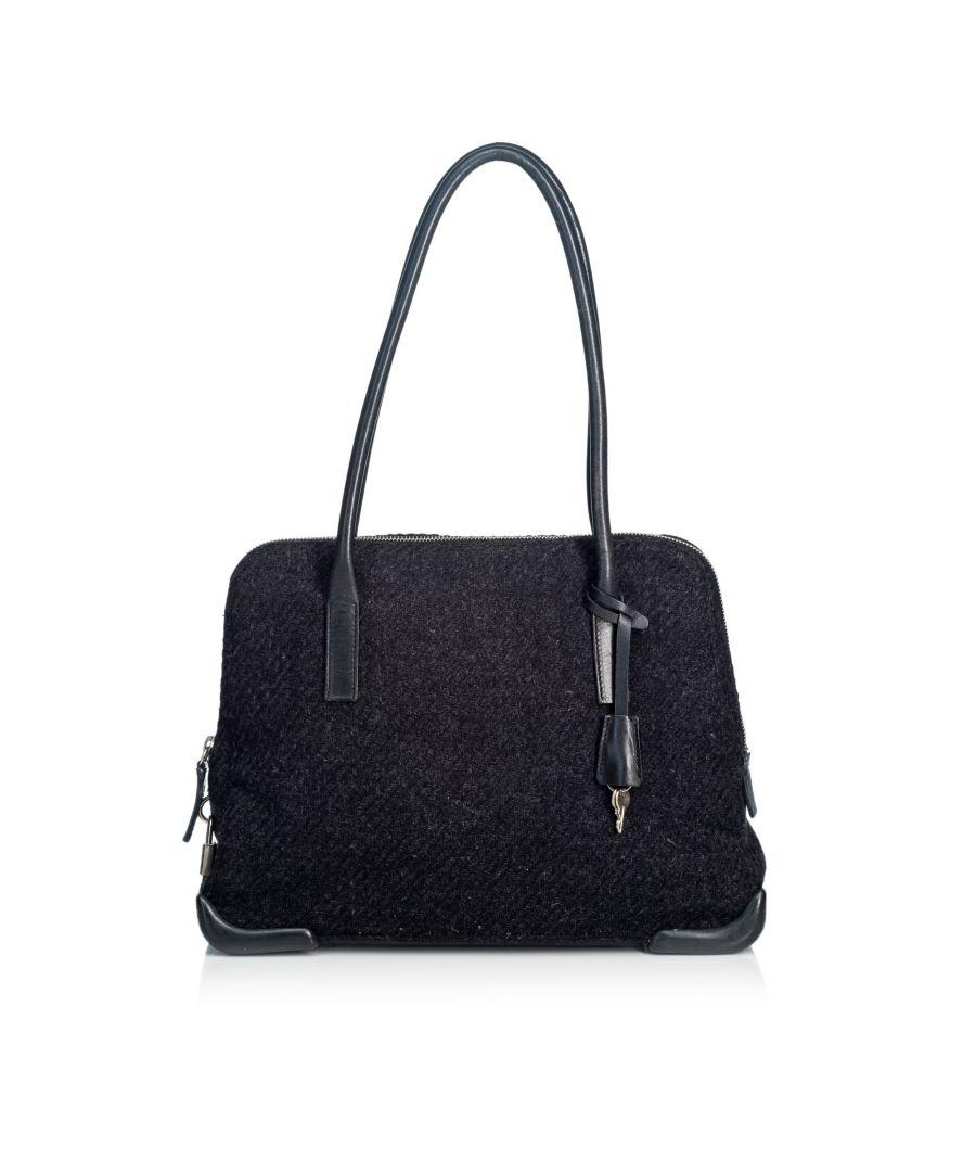 Image for Vintage Prada Wool Shoulder Bag Gray