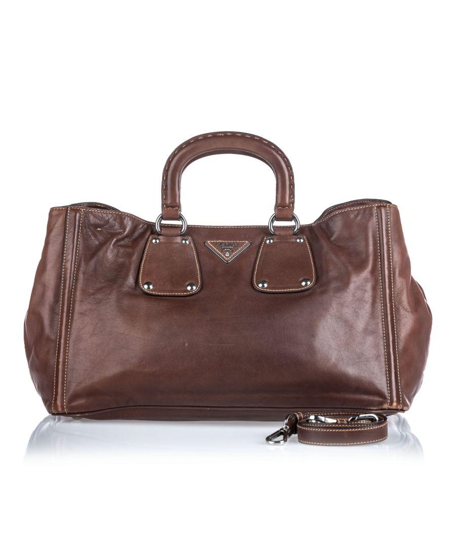 Image for Prada Soft Calf Leather Satchel Brown