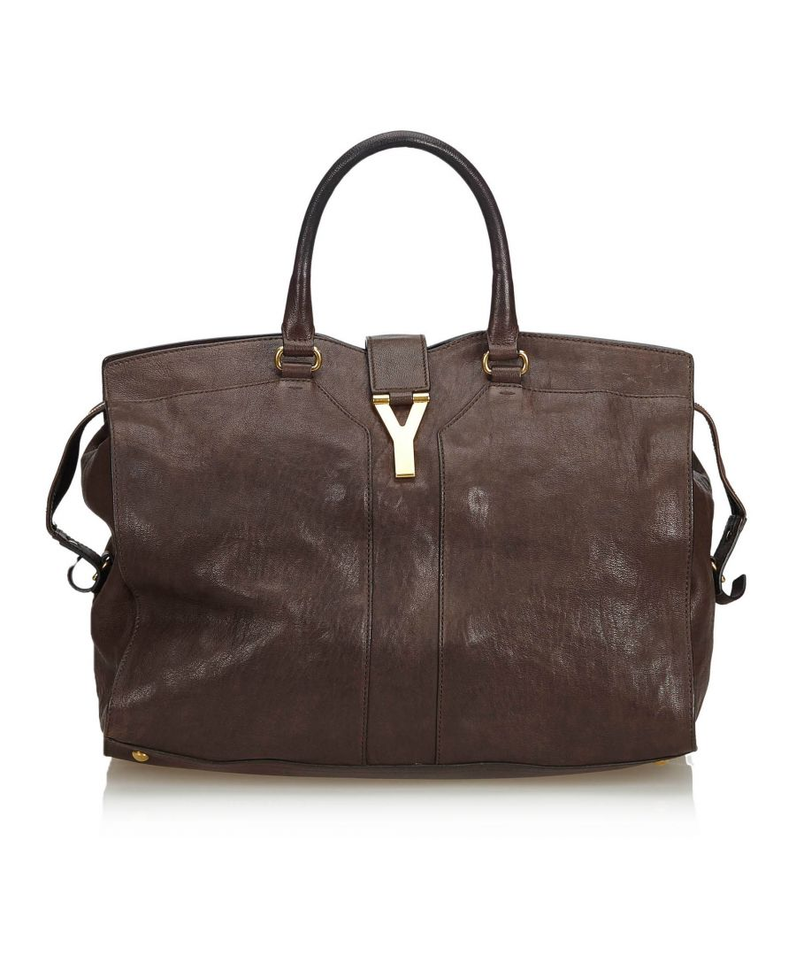 Image for YSL Leather Cabas Chyc Handbag Brown