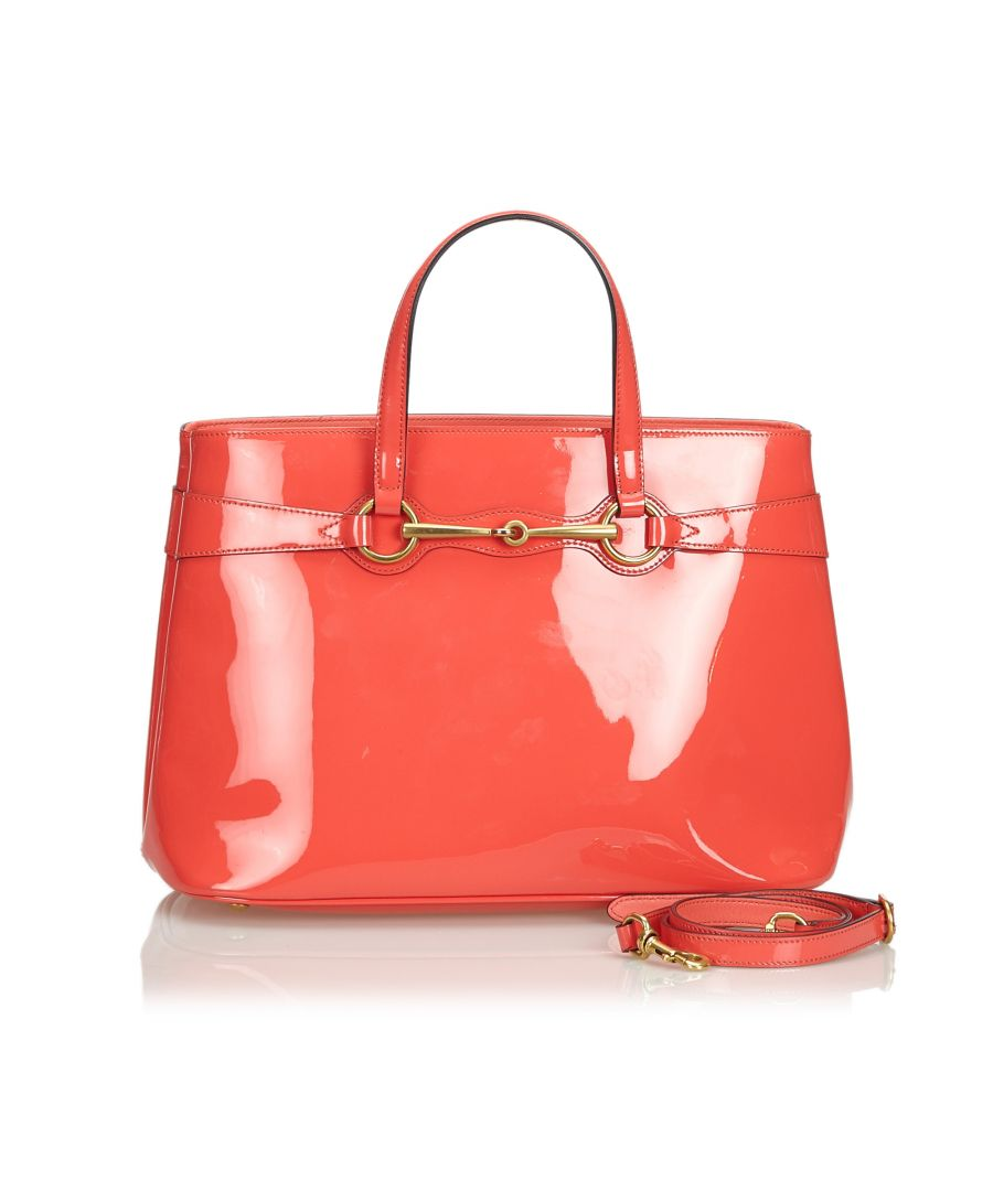 Image for Vintage Gucci Patent Leather Bright Bit Satchel Pink