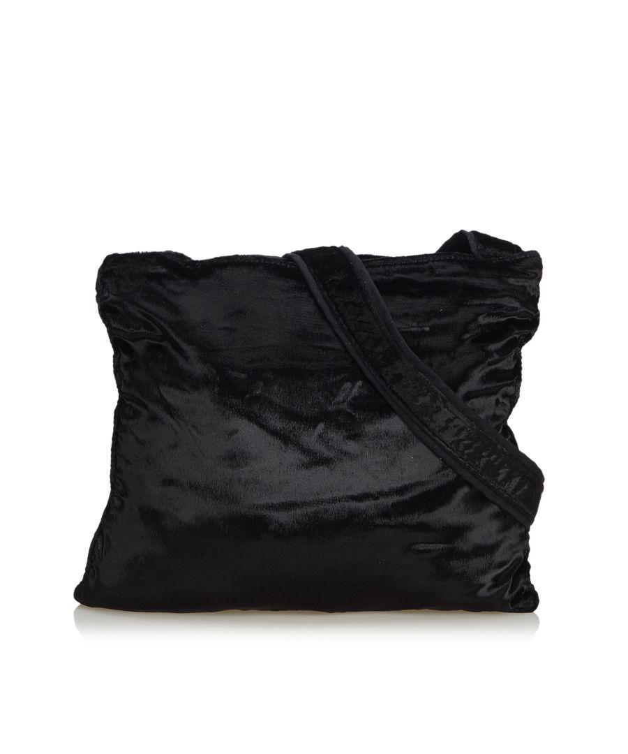 Image for Vintage Prada Velour Crossbody Bag Black