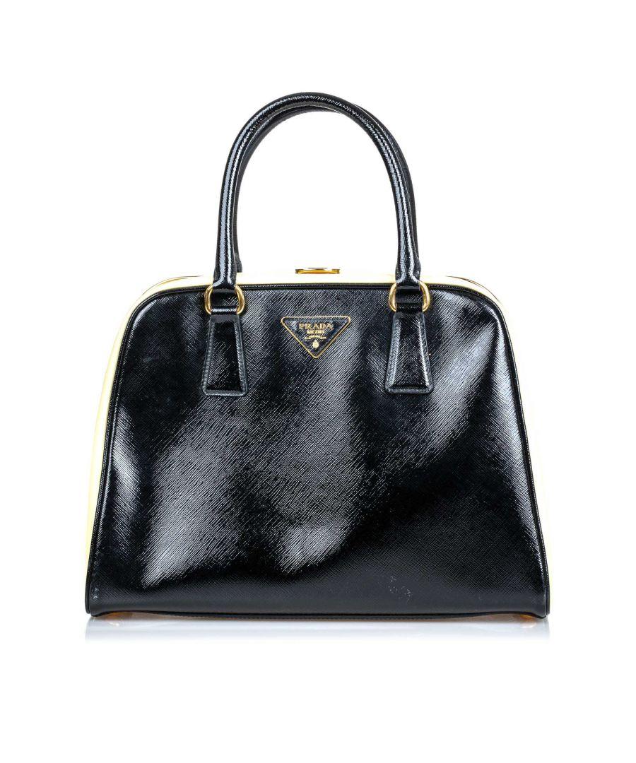 Image for Vintage Prada Saffiano Pyramid Handbag Black