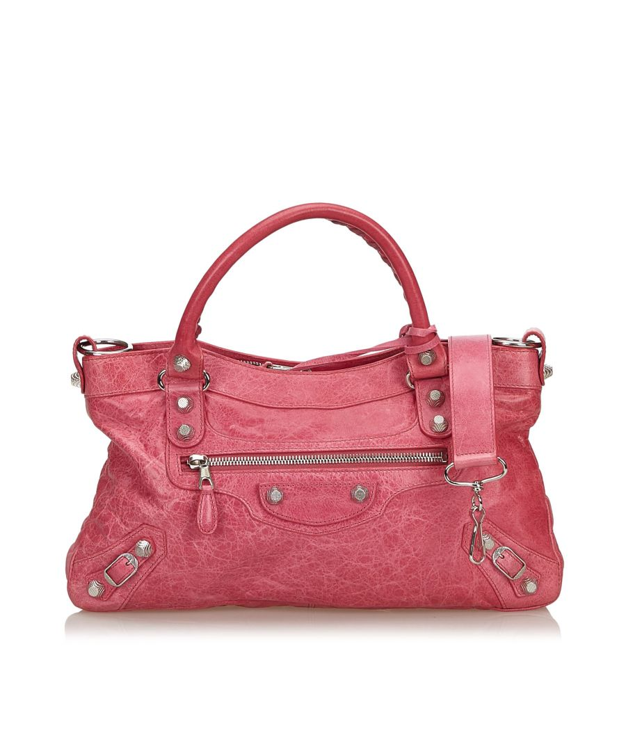 Image for Balenciaga Motocross Leather Giant City Satchel Pink