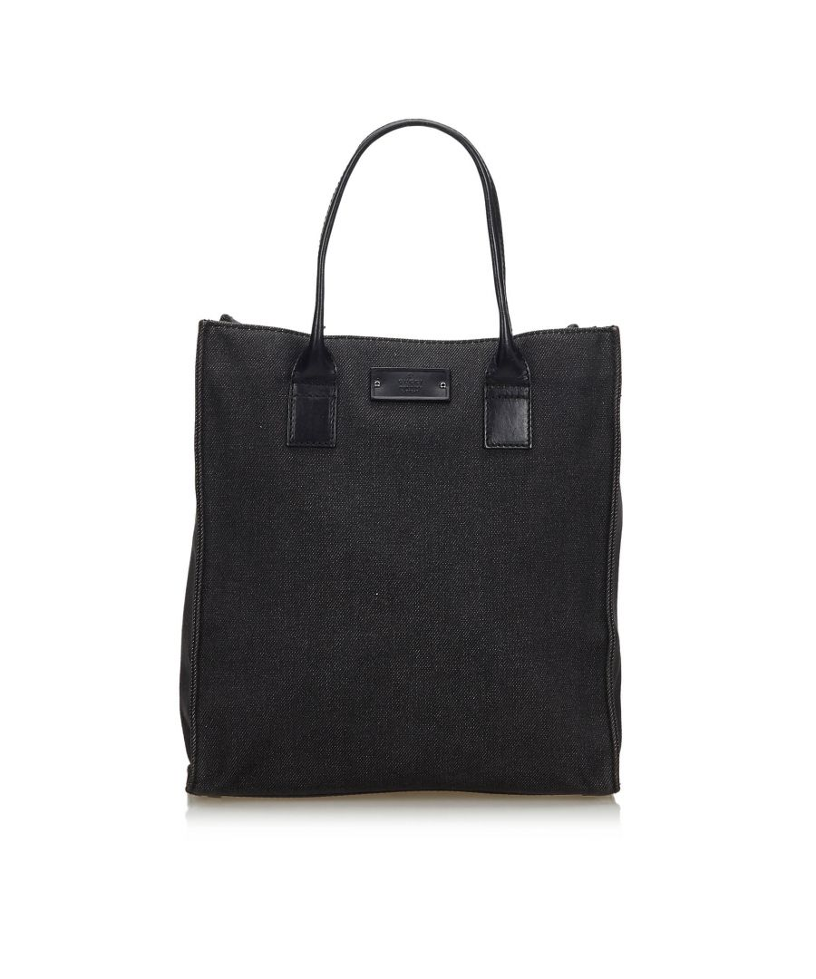 Image for Vintage Gucci Denim Tote Bag Black