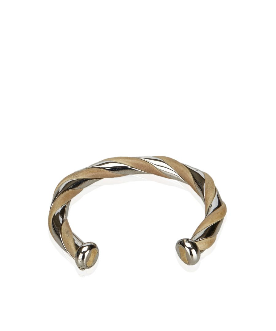 Image for Hermes Metal and Leather Bangle Silver