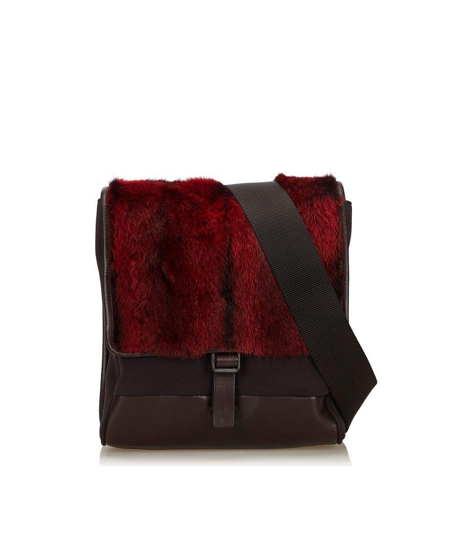 Image for Prada Fur Crossbody Bag Red
