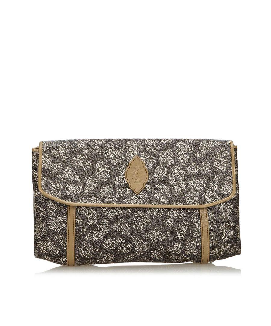 Image for Vintage YSL Printed Flap Clutch Bag Gray
