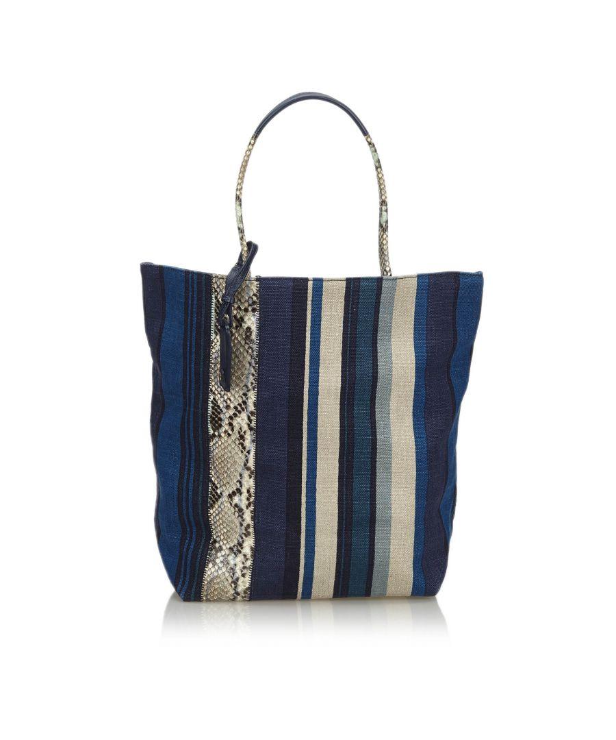 Image for Vintage YSL Canvas Tote Bag Blue