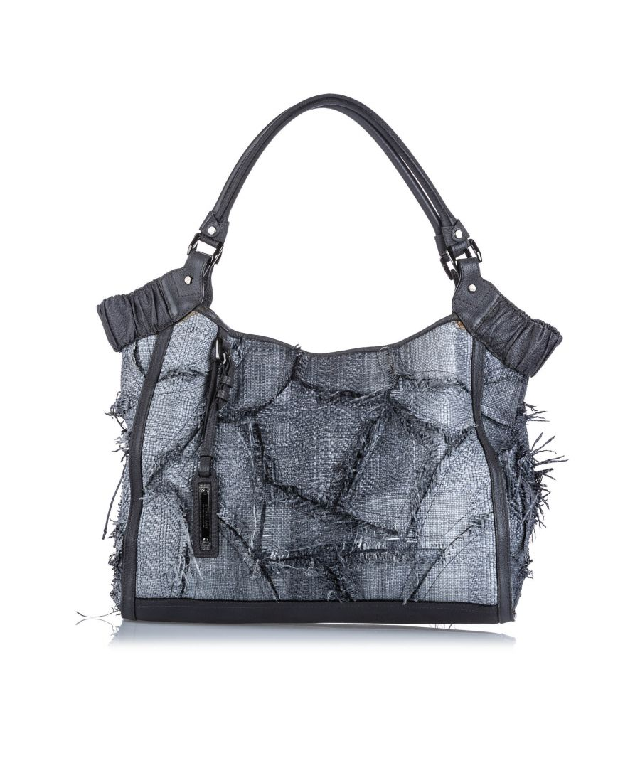 Image for Vintage Burberry Raffia Tote Bag Gray