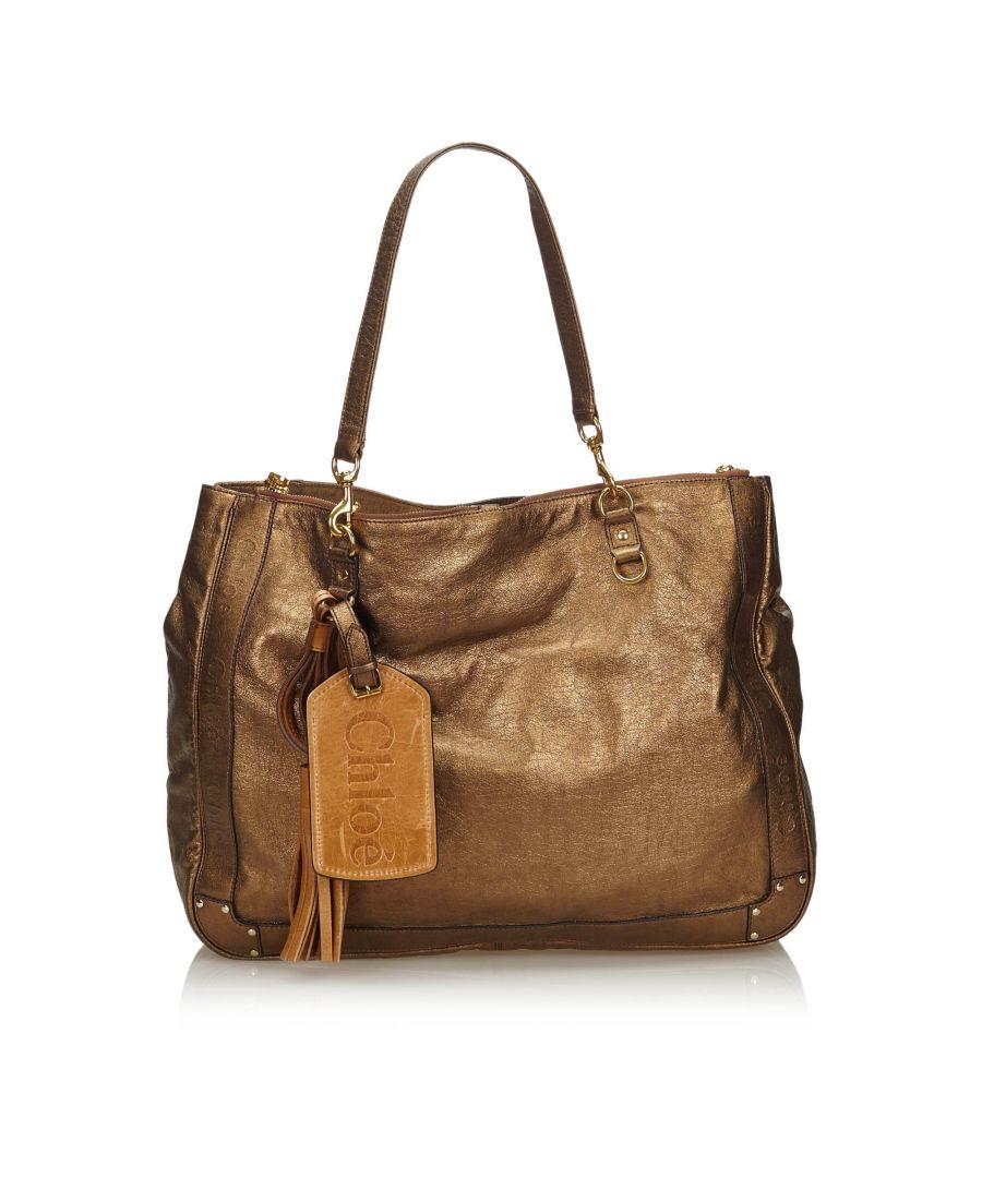 Image for Vintage Chloe Metallic Leather Eden Tote Bag Brown