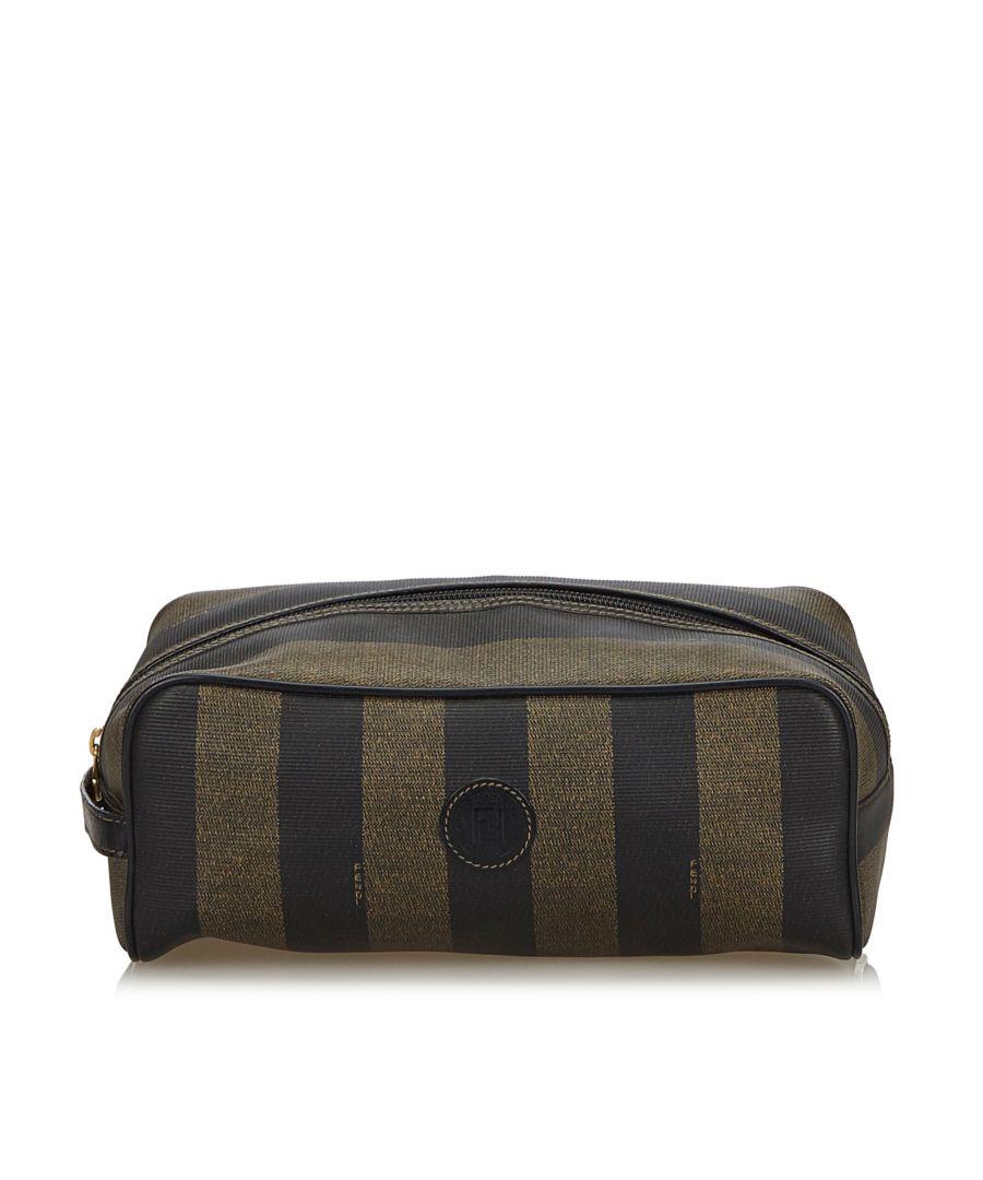 Image for Vintage Fendi Pequin Clutch Bag Brown