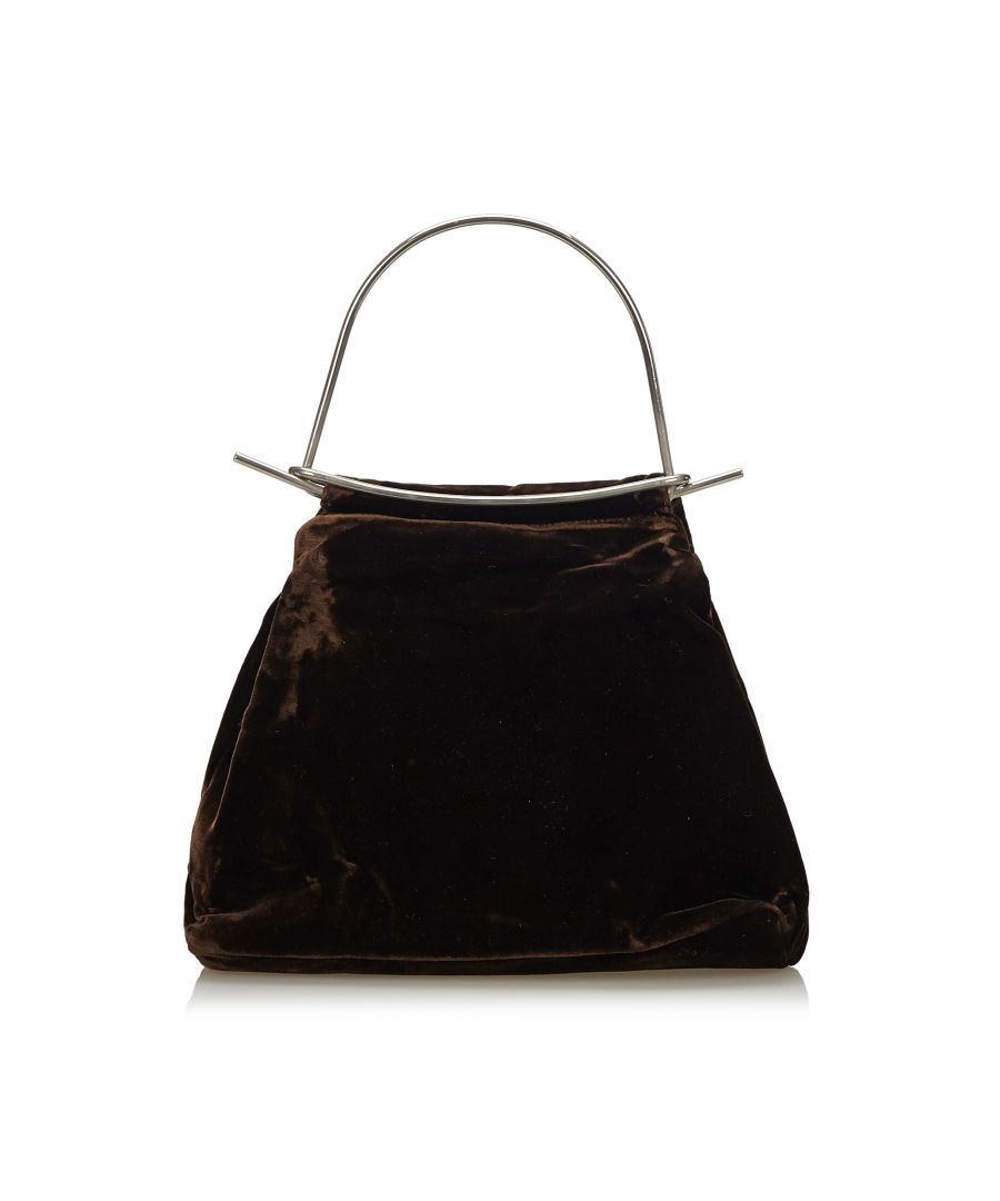 Image for Vintage Fendi Velour Handbag Brown