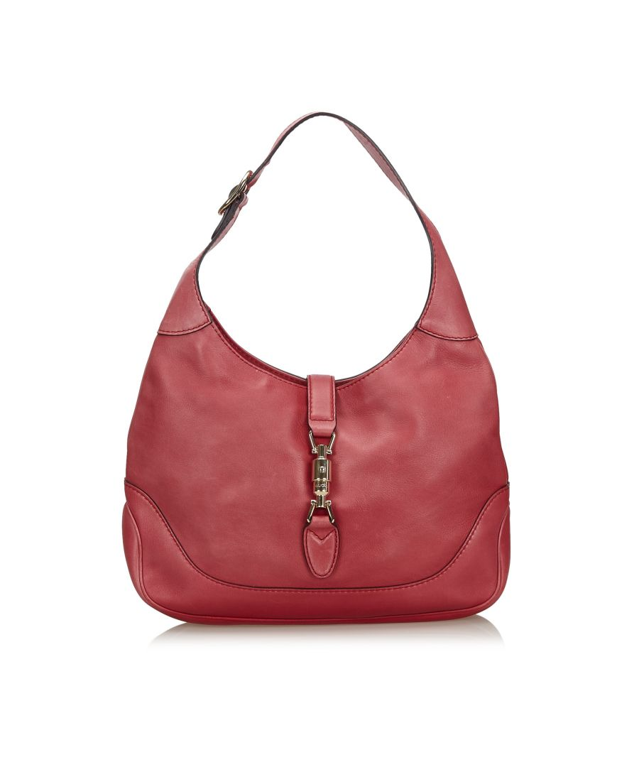 Image for Vintage Gucci Leather New Jackie Satchel Red